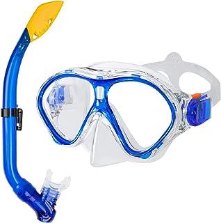 ست اسنورکل کودکان و نوجوانان Gintenco ، ماسک ضد اسنکرکل ضد خش برای جوانان خردسال ، تنفس بدون دود غواصی ضد آب ، عینک شنای شیشه ای معتدل غواصی 180 درجه نمای پانوراما