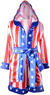 Halloween Costumes for Boys,American Flag Rocky Boxing Robe Hooded Shorts Kids Italian Stallion Suits Cosplay Costumes
