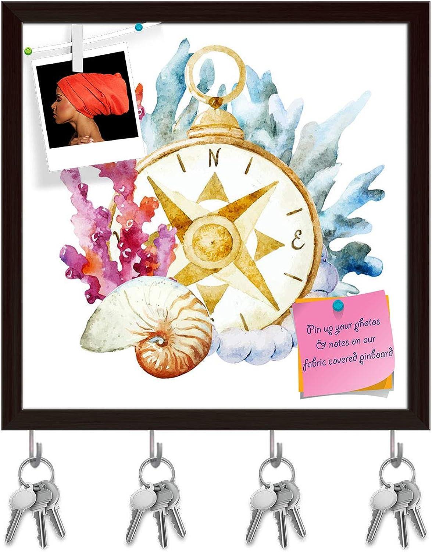 Artzfolio Compass with Corals Key Holder Hooks   Notice Pin Board   Dark Brown Frame 20 X 20Inch