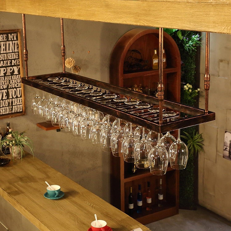 YYHSND American Industrial Wine Glass Holder Upside Down Hanging Wine Glass Holder Bar Hanging Cup Holder red Wine Rack (color   Bronze, Size   60CM)