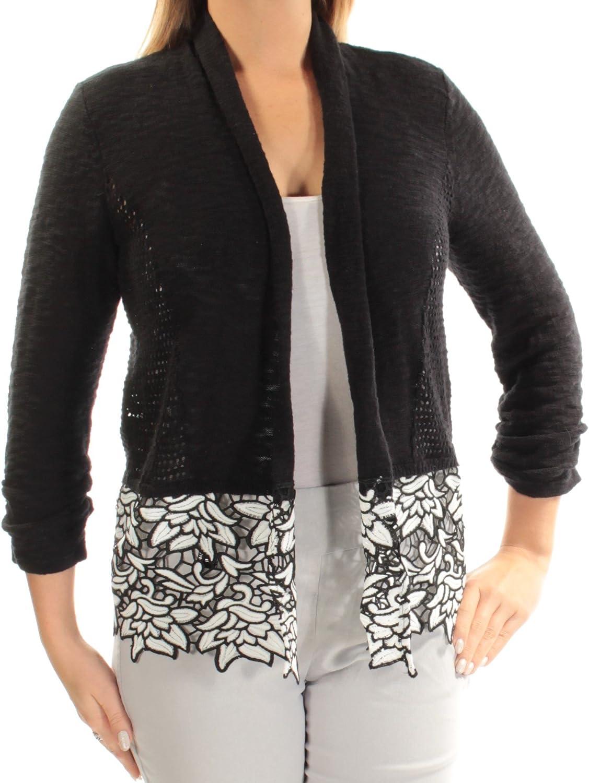 Inc Womens Black Long Sleeve Open Cardigan Top US Size  L