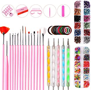 Nail Art Kit for Girls, Foonee Nail Art Set Manicure Tools, Includes 5 Dotting Pen, 15 Nails Brushes, 12 Colors Rhinestones and 10 Nail Striping Tape