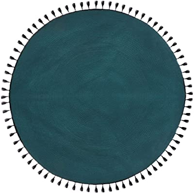 Atmosphera - Tapis décoratif Bleu Canard en Coton D120 cm