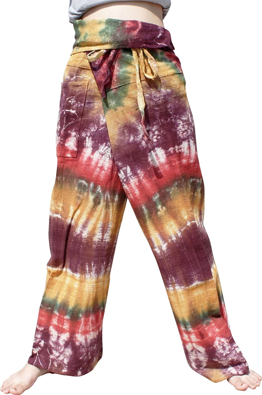 Raan Pah Muang Cotton Fisherman Tie Dye Wrap Pants Light Summer Wear Mixed Cotton