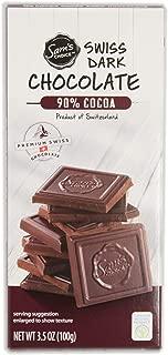 Sam's Choice 90% Cocoa Premium Swiss Super Dark Chocolate Bar, 100g [Pack of 1, Product of Switzerland]