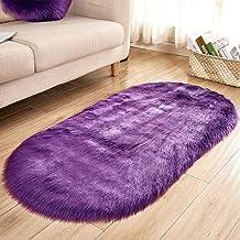 Oval Carpet Bedroom Living Room Imitation Wool Non-Slip Non-Slip Cold Pad Rugs Children Play Crawling Mat,4,50 * 80cm