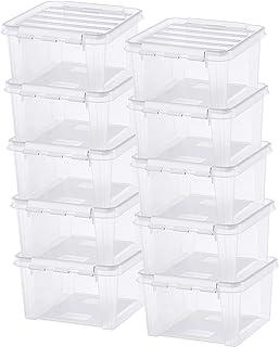 Lot de 10 Boîtes de Rangement - Rangez Votre Maison avec Style et Praticité - Taille Moyenne - Plastique - Transparent - C...