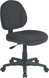 Office Star Sculptured Thick Padded Seat and Back with Built-in Lumbar Support Task Chair without Arms, Black