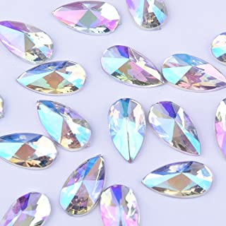 YOYOLE 8x13mm Water Droplets Light Crystal AB Acrylic Special Effects Rhinestones Teardrop AB Acrylic FlatBackship Whip from (White) (100)
