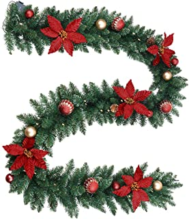 ANOTHERME Christmas Garland 9 ft Pre-Lit Lighted 50 LED with Timer, Red Poinsettia, Balls, Holiday Stairs Fireplace Front Door Decoration