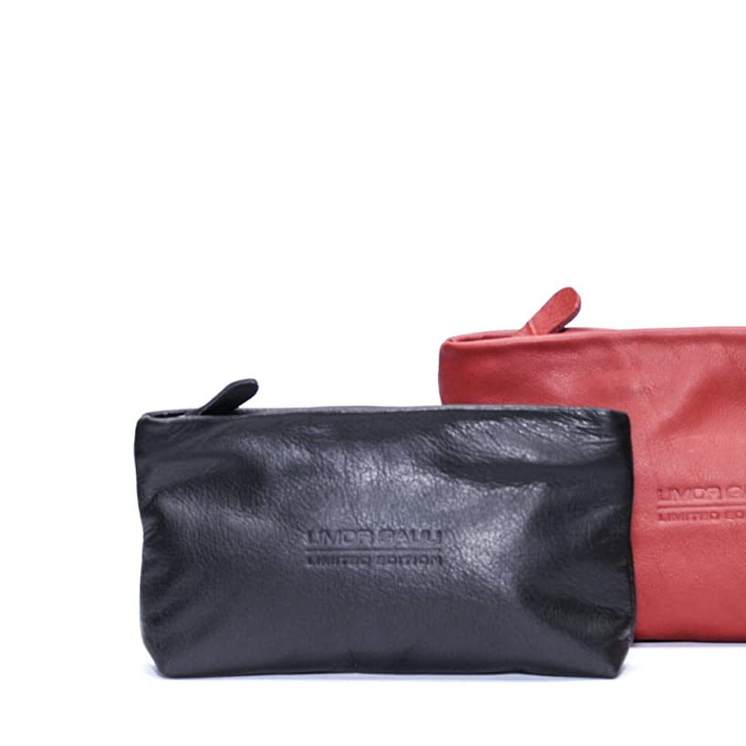 Soft Small Black Leather Pouch Makeup bag case women clutch zippered wallet purse cosmetic handbag