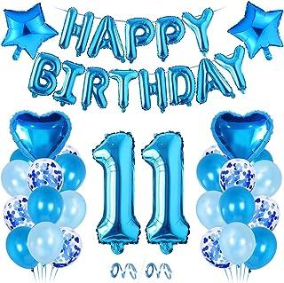 Décoration Anniversaire Garçon 11 An, Décoration Bleu, Ballon Aluminium 11 ,Ballon 11 Anniversaire, 11 Décoration Annivers...
