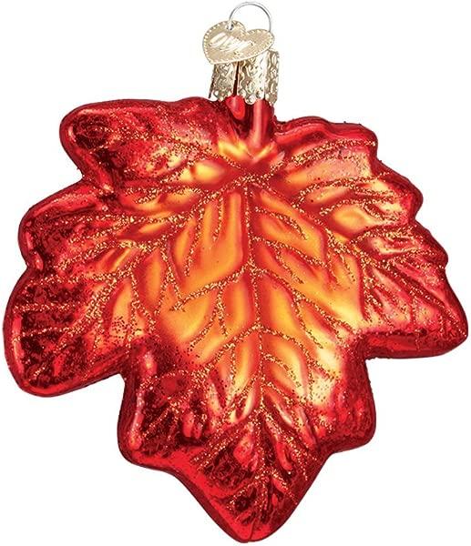 旧世界的圣诞挂饰的圣诞树挂饰枫叶玻璃吹制