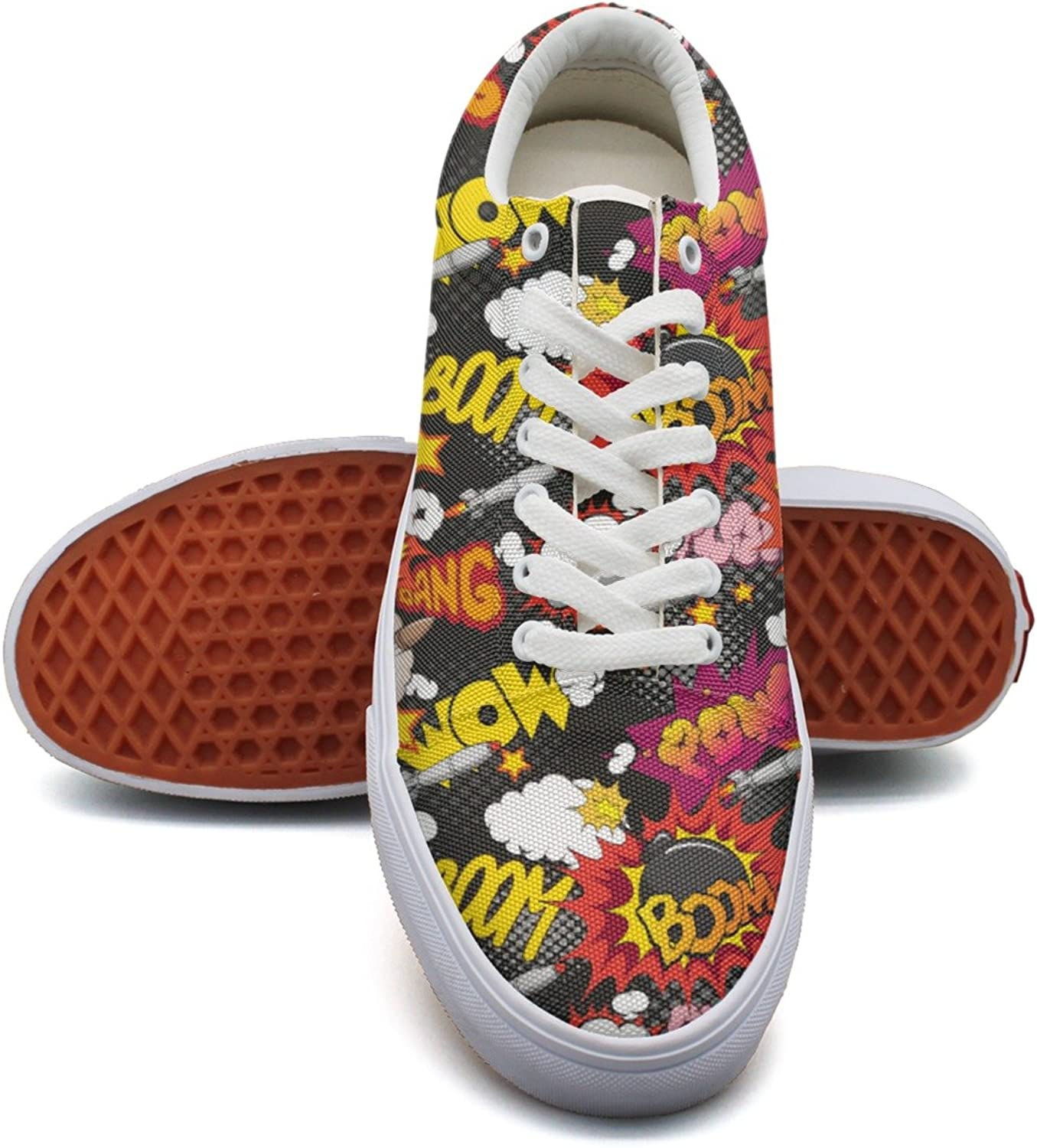 Feenfling Comic Book Explosion Womens Flat Canvas Boat shoes Low Top Hip Hop Cloth shoes for Women