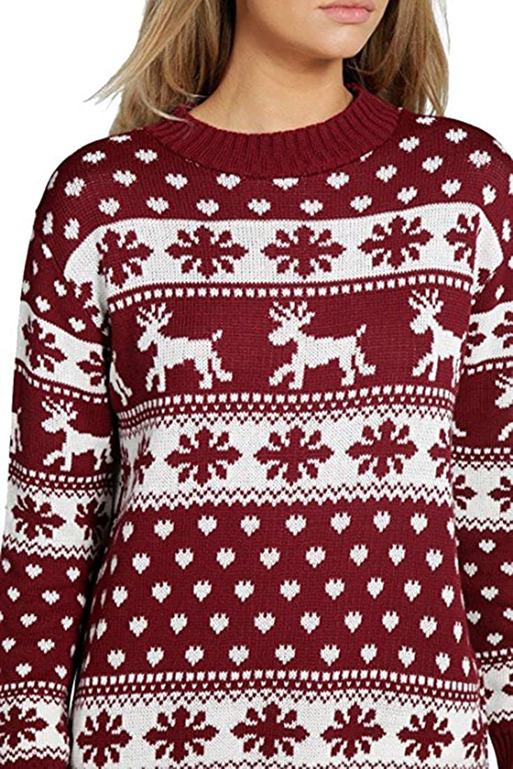 Mujeres Reindeer Snowflake Ni/ños Navidad Madre Hija Hija Navidad 3-13 A/ño Jumper Tama/ño Superior 36-52