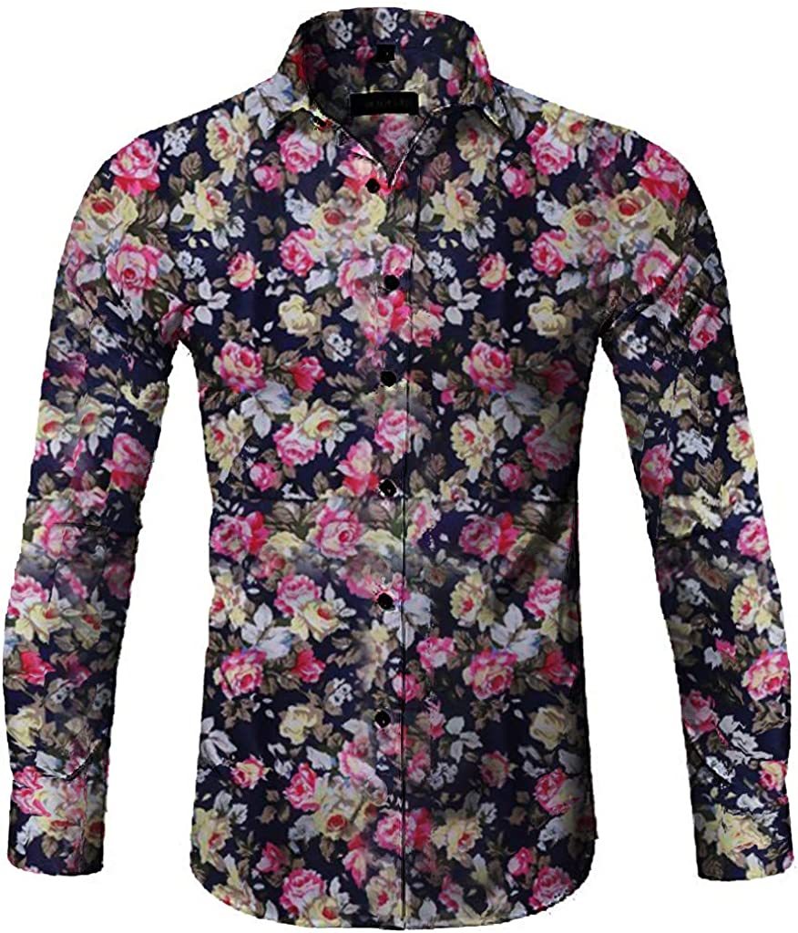 Gergeos Mens Floral Casual Fashion Shirt Long Sleeve Shirt Button Shirts Slim Fit Stand Collor T-Shirts 2019