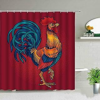 浴帘 防霉 时尚 隔断 浴室用 组件浴室用 遮挡眼 防水 聚酯纤维 速干 带挂钩 安装简单 可洗-鶏肉200x200cm/80x80inch