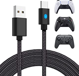 10ft Charger Cable for PS5 DualSense and Xbox Series X S Controller, YUANHOT USB Type C Fast Charging Cord with LED for Pl...