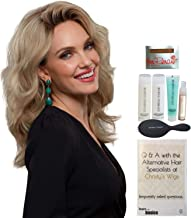 Bundle - 8 Items: Jennifer Exclusive Remy Human Hair by Jon Renau, Christy's Wigs Q & A Booklet Luxury Shampoo & Conditioner Blown Away Treatment Mist Paddle Brush & Wig Cap - Color: 613/102S8