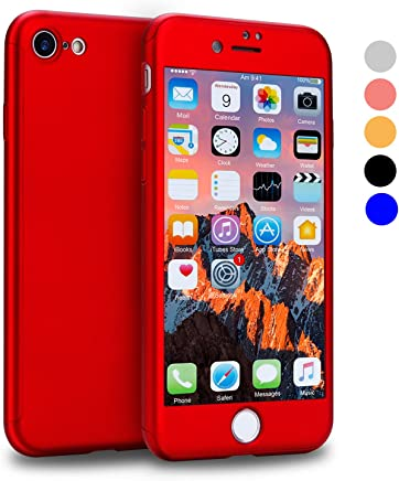 VANSIN iPhone 7 Case, 360 Full Body Protection Hard Slim Case Coated Non Slip Matte Surface with Tempered Glass Screen Protector for Apple iPhone 7 Only (4.7-inch) - (Red)