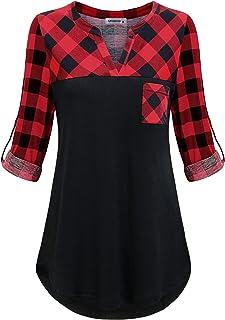 MOQIVGI Women's 3/4 Cuffed Sleeve Henley Shirts Fashion Casual V Neck Tunic Tops