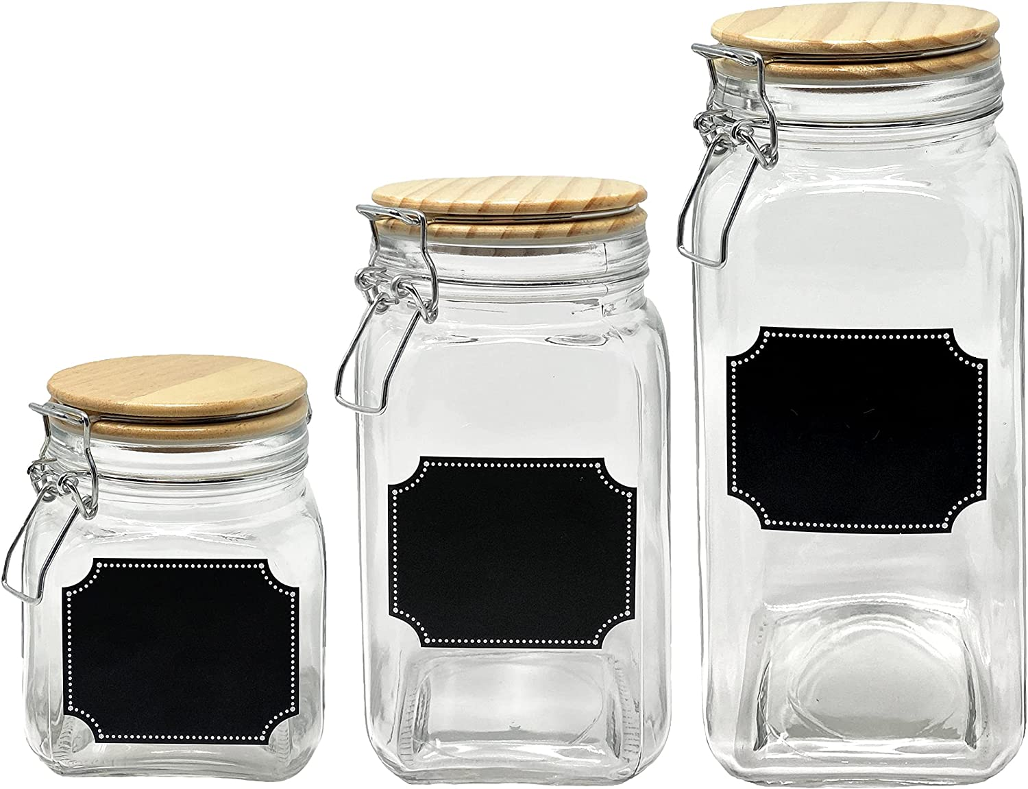 Glass List price Direct store Canisters Mason Jar Food Storage with - Airtight Lid Wood