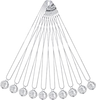 Outus 10 Pack Bead Cages Pendants 29 x 24 mm with 10 Pack 18 Inches Snake Chain Necklaces, Silver Plated
