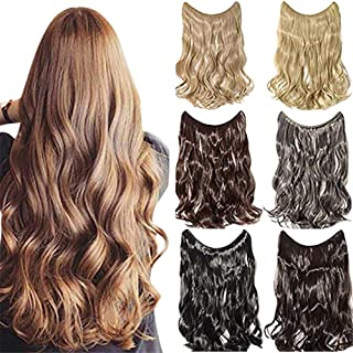 Curly Wavy Halo Hair Extensions Real Human Hair Hidden Halo Invisible Wire Hair Pieces for Women 80g, 16 Inches 2# Dark Brown