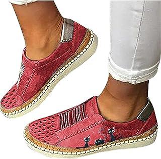BIBOKAOKE Sneakers Damen Lässige Flache Einzelschuhe Übergrößen Low Mesh Sneaker Atmungsaktiv Turnschuhe Outdoor Sportschu...