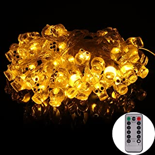 echosari [Remote & Timer] 16 Feet Battery Operated Halloween String Light with 50 LED Skulls, 8 Modes Dimmable (Warm White)