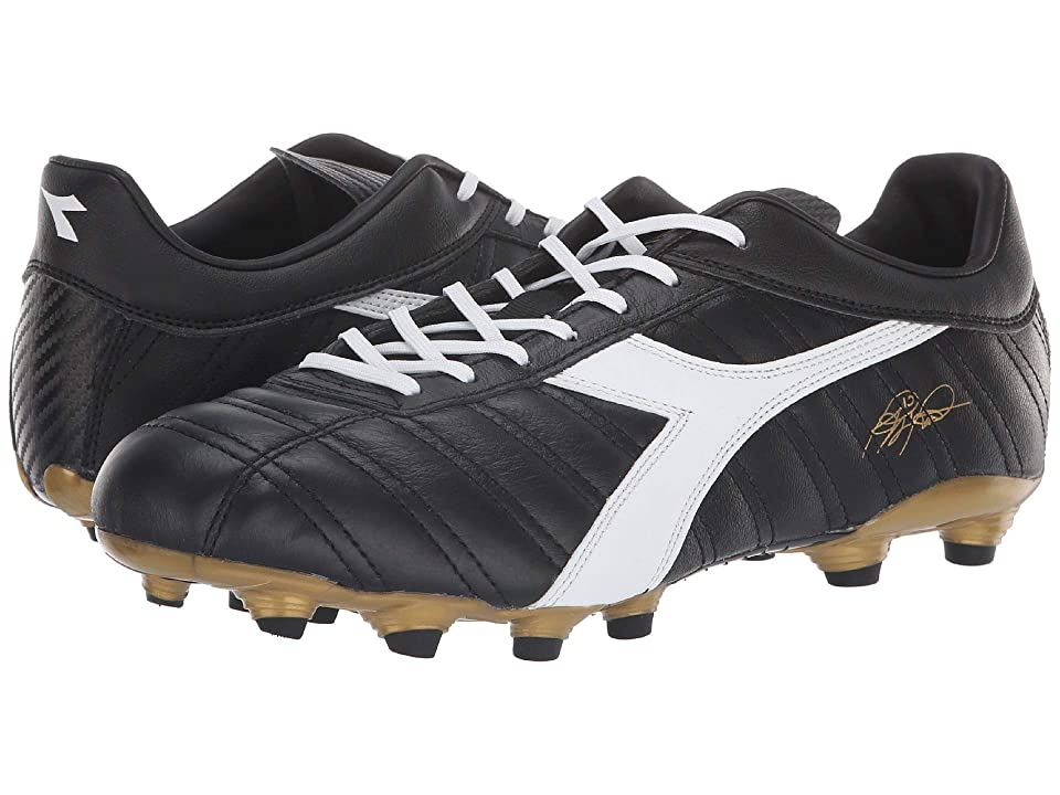 Diadora Baggio 03 K MG14 (Black/White/Gold) Soccer Shoes
