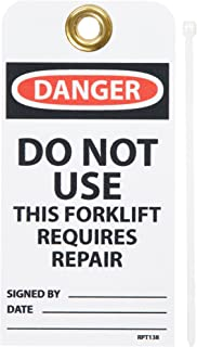 """NMC RPT138G""""Danger - DO NOT USE This Forklift Requires Repair Accident Prevention Tag with Brass Grommet, Unrippable Vinyl, 3"""" Length, 6"""" Height, Black/Red on White (Pack of 25)"""