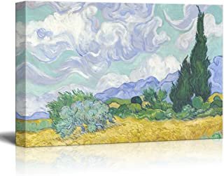 A Wheatfield with Cypresses by Van Gogh Giclee Canvas Prints Wrapped Gallery Wall Art   Stretched and Framed Ready to Hang - 12