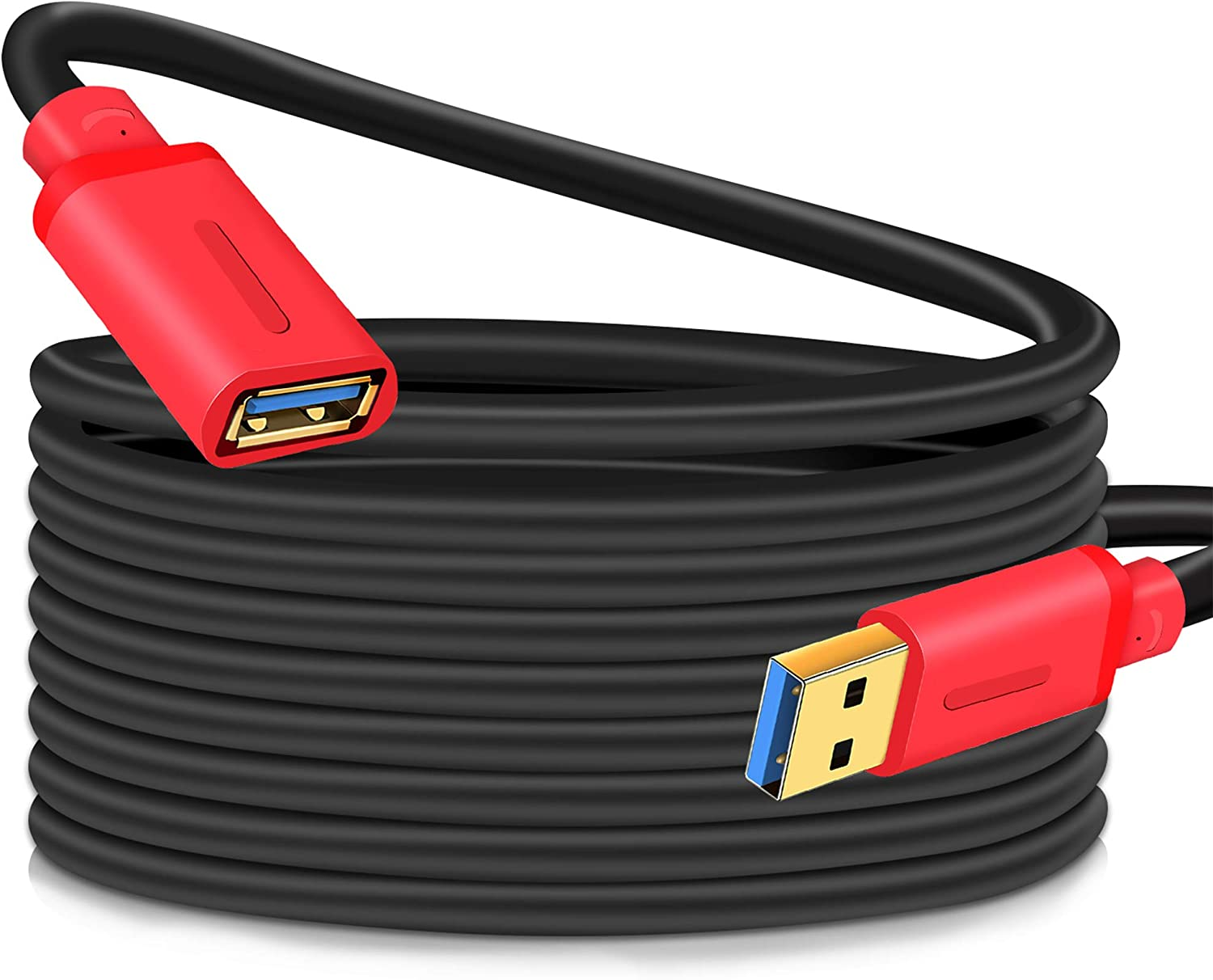 USB 3.0 Extension Cable 15Ft,USB 3.0 Extension Cable - A-Male to A-Female for USB Flash Drive, Card Reader, Hard Drive, Keyboard,Mouse,Playstation, Xbox, Printer, Camera (15Ft, Red)