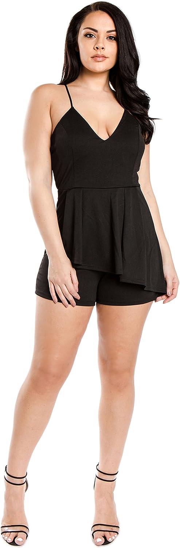 Bubble B Women's Cami Strap VNeck Romper Regular Plus Size S to 3X
