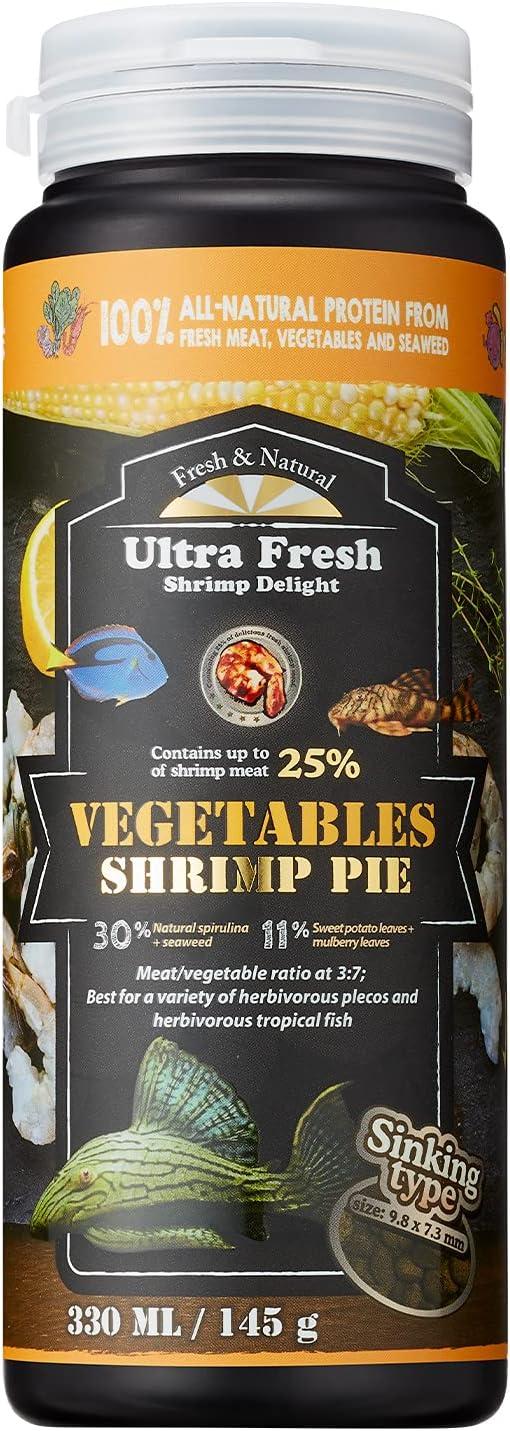 [Picky Algae Eater Fish Food] Ultra Fresh - Vegetables Shrimp Pie, 30% Natural Spirulina + Seaweeds, High Fresh Vegetable Content, Sword Prawns, Enhance Natural Coloration, Wafers for pleco