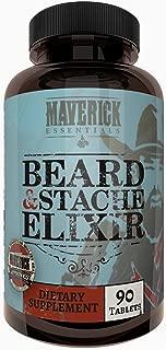 Maverick Essentials Beard + Mustache Elixer - 90 Count - Thicker, Fuller, Faster Hair Growth Supplement