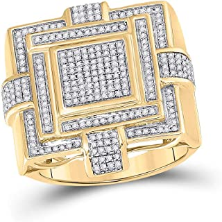 FB جواهر الذهب الأصفر 10kt رجل جولة الماس مربع العنقودية الدائري 3/4 Cttw