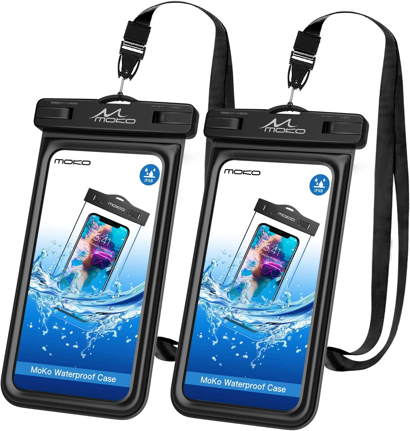 MoKo Floating Waterproof Phone Pouch Holder [2 Pack], Floatable Phone Case Dry Bag with Lanyard Sponge Compatible with iPhone 13/13 Pro Max/iPhone 12/12 Pro Max/11 Pro/Xr/Xs Max, Galaxy S21/S20/S10/S9