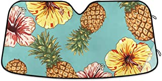 MCHIVER Car Sun Shade for Windshield - Leaves Flowers Pineapple Front Windshield Sunshade Foldable Windshield Sunscreen, A...