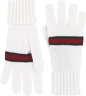 Gucci Men's White 100% Wool Knit Web Stripe Gloves
