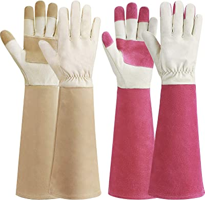2 Pairs Rose Pruning Gloves Pigskin Leather Thorn Proof Yard Working Gardening Gloves for Bushes