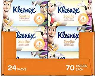 KLEENEX Facial Special Care Large and Thick Facial Tissues with Aloe Vera & Vitamin E in Kids design, 24 x 70 Sheet Box