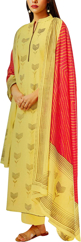 Pure Cotton Printed Salwar Kameez Suit with Palazzo Pants & Cotton Print Dupatta