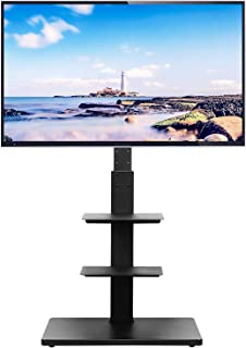 Rfiver 壁寄せテレビスタンド 液晶テレビ台 32 40 43 50 55 65インチLCD LEDテレビ対応 汎用 棚付き 高さ調節可能 ラック回転可能 ブラック 日本語説明書付き 黒い TF1002