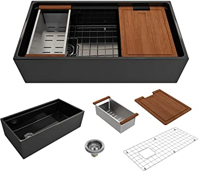 BOCCHI 1505-005-0120 Contempo Workstation Apron Front Step Rim Fireclay 36 in. Single Bowl Kitchen Sink with Accessories in Black