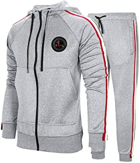 Men's Hooded Athletic Tracksuit Casual Full Zip Jogging Sweatsuits