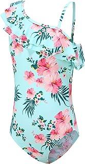 Girls One Piece Swimsuits Hawaiian Ruffle Swimwear Floral Bathing Suit