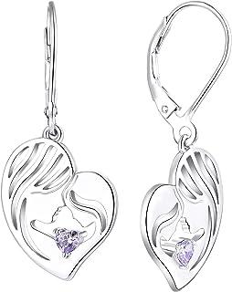 3 ct Alexandrite Double Coeurs Boucles D/'Oreilles Clou Or Blanc Argent