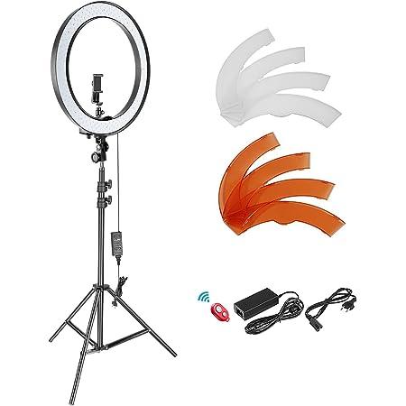 Neewer Kit d'Illuminazione Luce Anulare LED SMD Dimmerabile Diametro Esterno 18 Pollici con 200cm Cavalletto, Supporto Clip per Smartphone & Adattatore Hotshoe, per YouTube TikTok Video